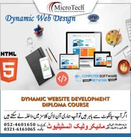 Dynamic Website Development Designing Diploma Short Course in Sialkot
