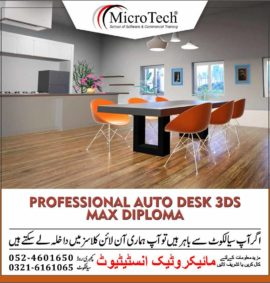 Professional Auto desk 3ds Max Course Diploma in Sialkot